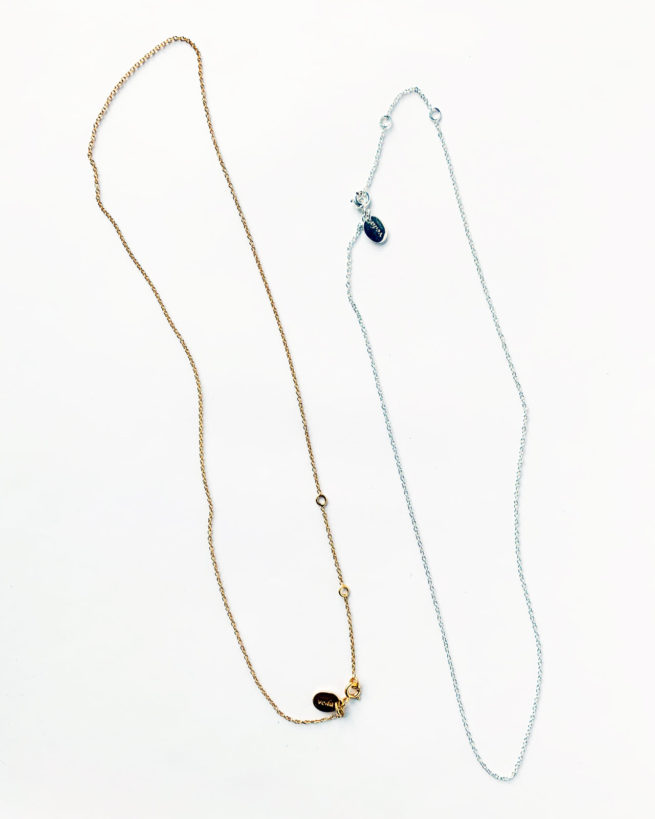 adjustable length silver and gold plated necklace chains by veda