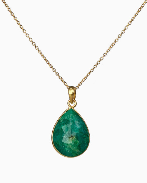 gold plated emerald large stone necklace by veda