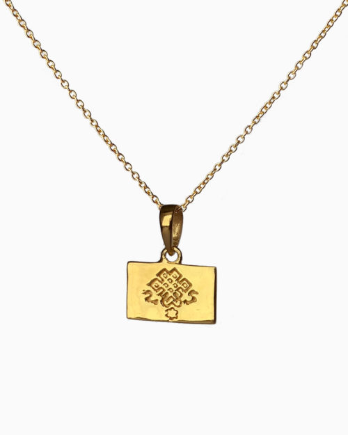 gold plated endless knot necklace by veda jewelry