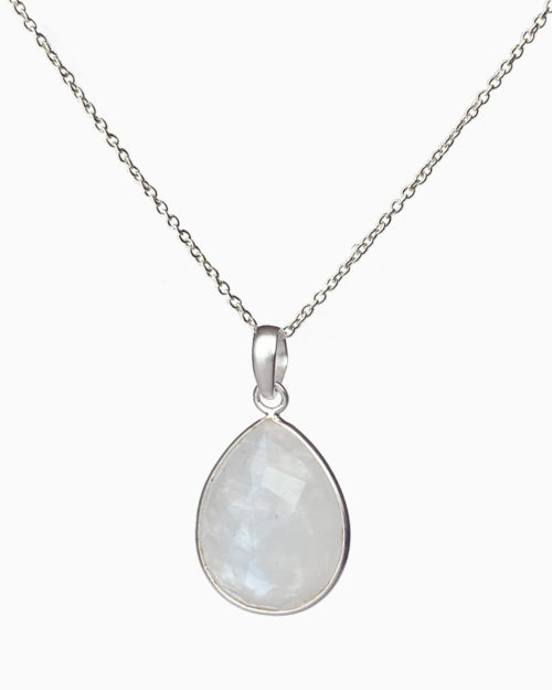 silver large rainbow moonstone necklace by veda